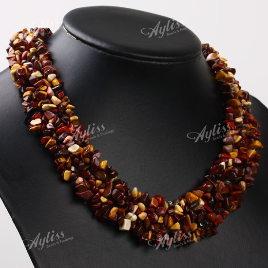Charming Mookaite Gemstone Chip Beads Necklace 19