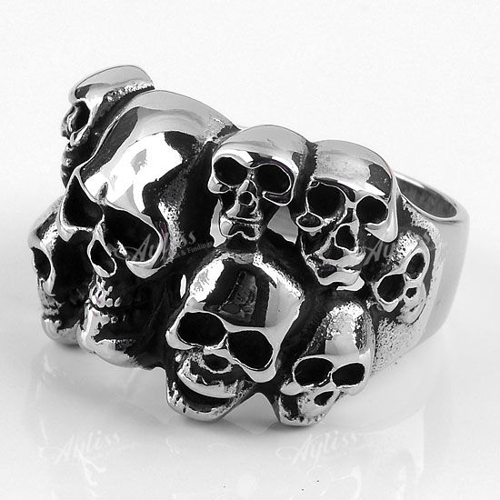 316L Stainless Steel Skull Fashion Gothic Punk Men's Finger Ring US 11 Gift