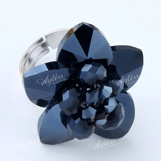 Black Faceted Crystal Glass Adjustable Flower Ring 1PC