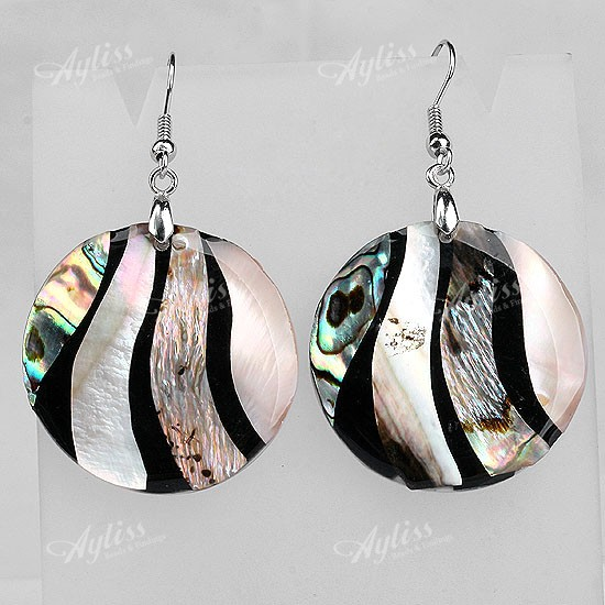 1 pair Mother Of Pearl Shell Coin Button Bead Hook Dangle Earring jse0036