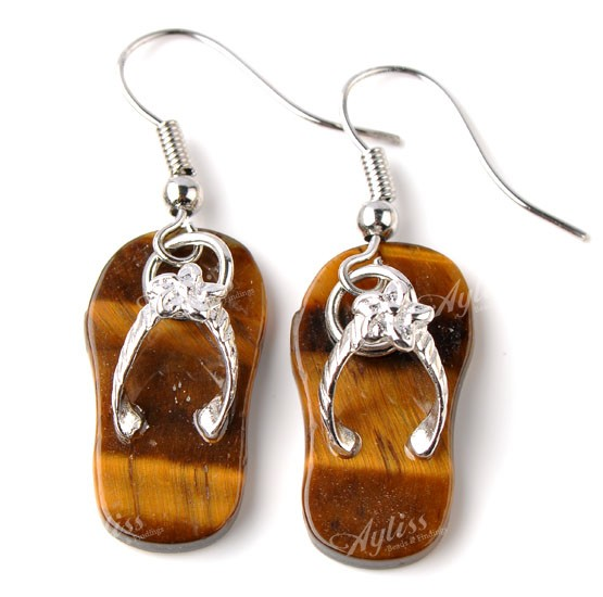 1 Pair Tiger's Eye Gem Slippers Hook Dangle Ear Earring Gift Fashion