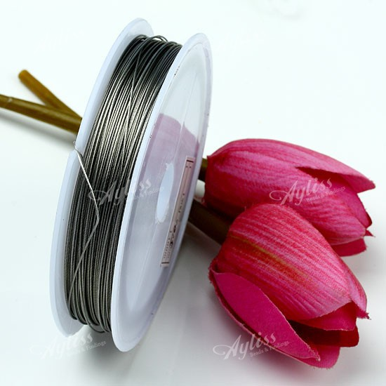 0.5mm Gray Steel Wire Beading String Cord Thread 50M