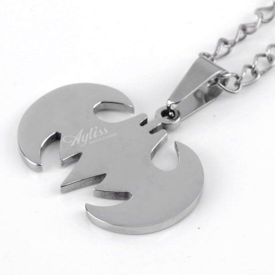 1PC Stainless Steel Bat Bead Focal Pendant Men's Cool Punk Gothic 30x23mm