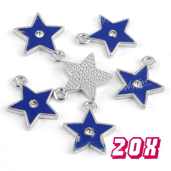 20x-Blue-Enamel-Star-Silvery-Charm-Drop-Bead-Zinc-Alloy-Pendant-Jewelry-Findings
