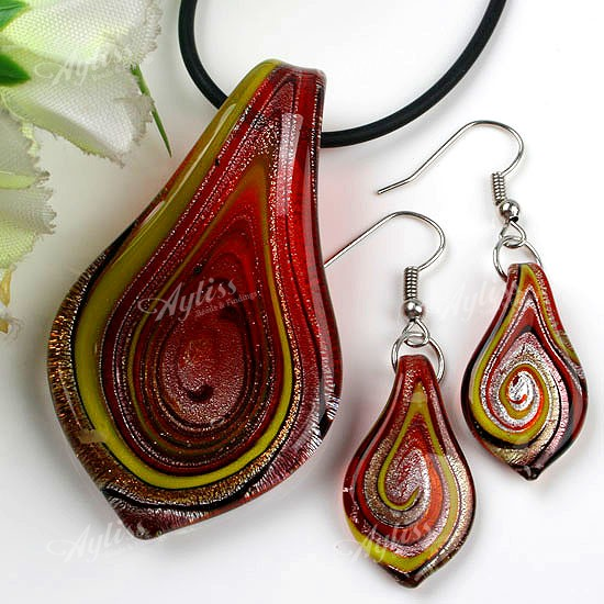 Red Murano Lampwork Glass Swirl Bead Pendant Earring
