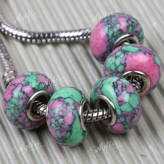 5pcs 8x14mm Howlite Turquoise Loose Bead Fit Charm European